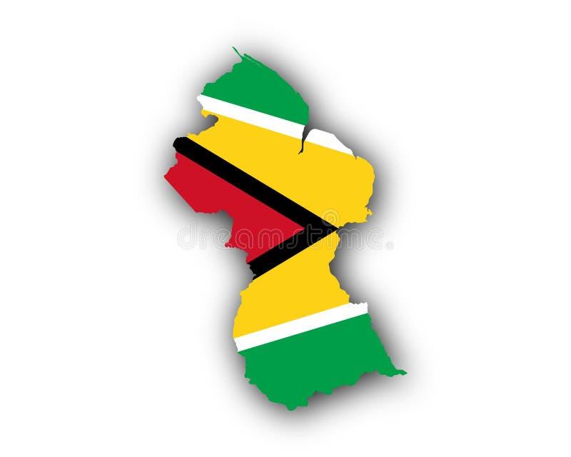 Karte und Flagge von Guyana vektor abbildung