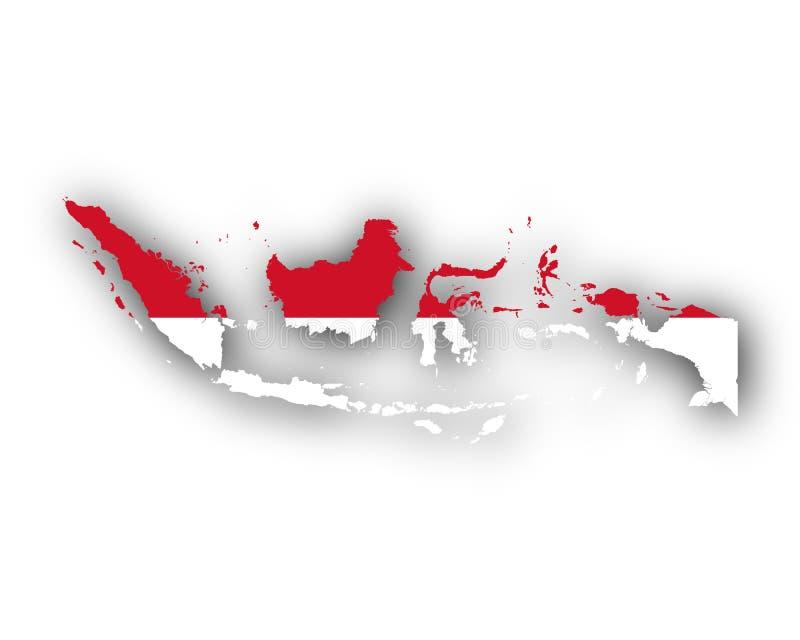 Karte und Flagge von Indonesien lizenzfreie abbildung