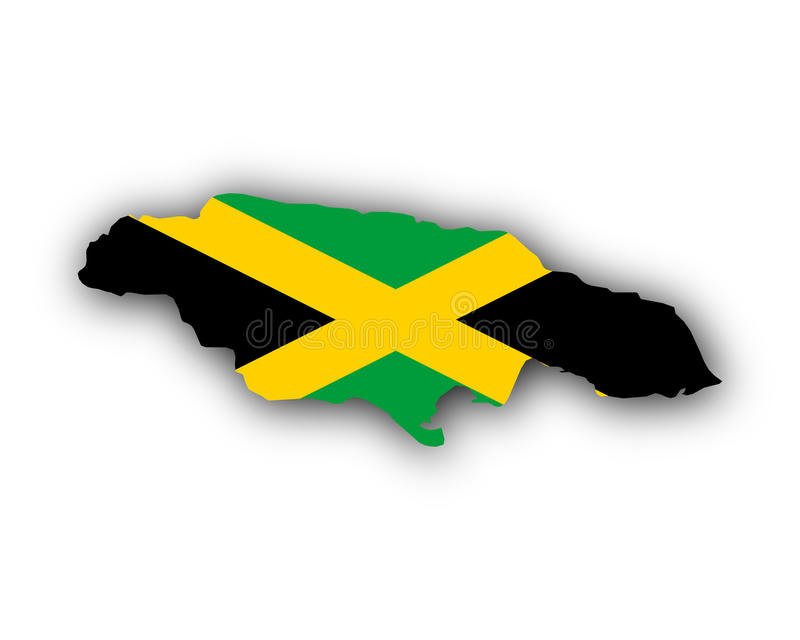 Karte und Flagge von Jamaika vektor abbildung
