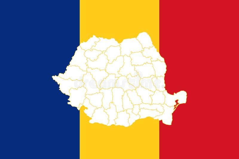 Karte und Flagge von Rumänien lizenzfreie abbildung