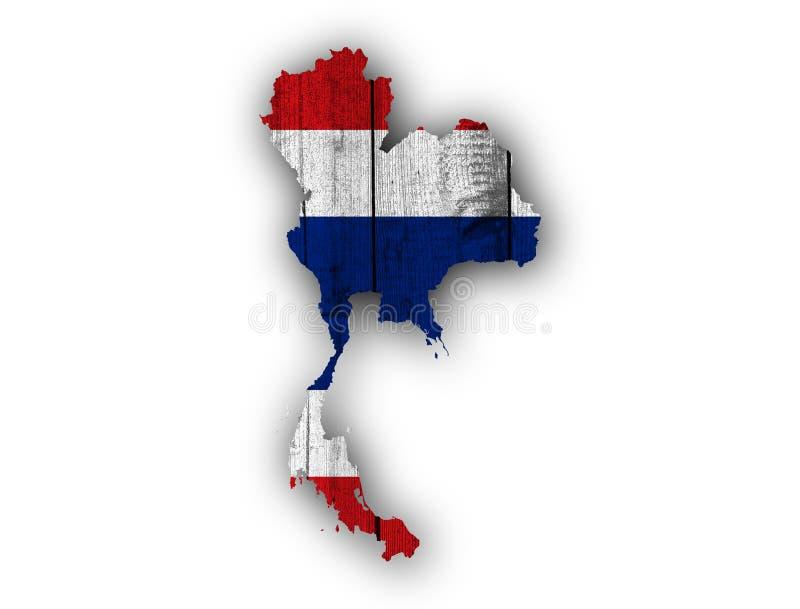 Karte und Flagge von Thailand auf verwittertem Holz stockbilder