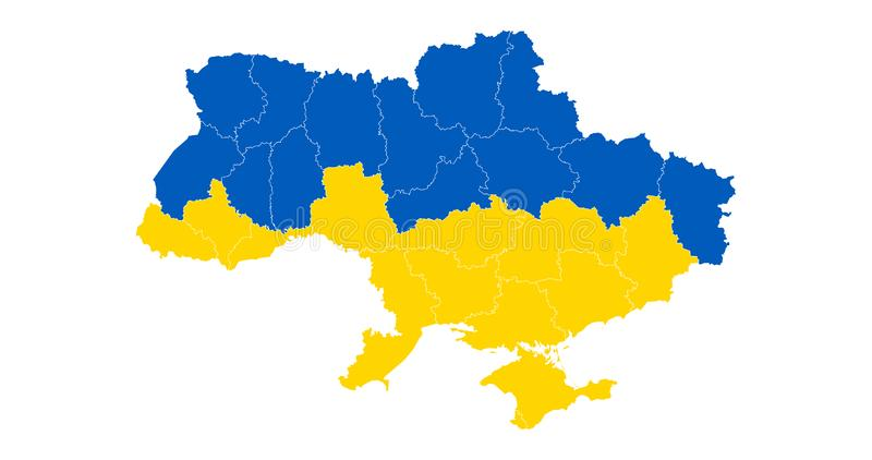 Karte und Flagge von Ukraine mit Abteilungen Vektorabbildung getrennt auf wei?em Hintergrund lizenzfreie abbildung