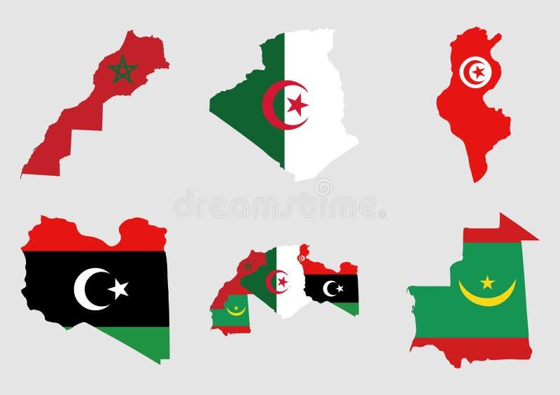Karte und Flaggen des arabischen Maghrebs lizenzfreie stockbilder