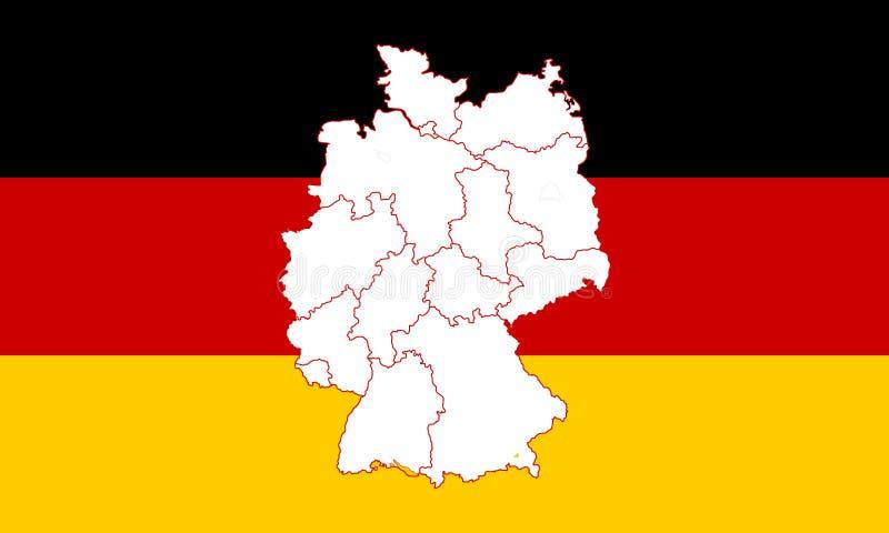 Karte und Markierungsfahne von Deutschland vektor abbildung
