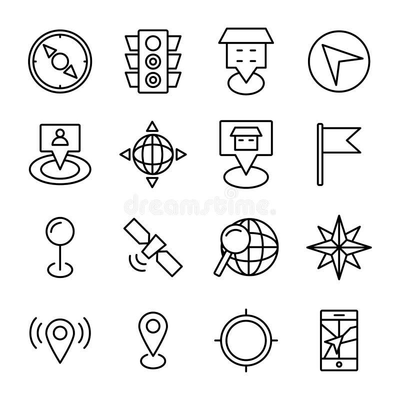 Karte und Navigations-Linie Ikonen lizenzfreie abbildung