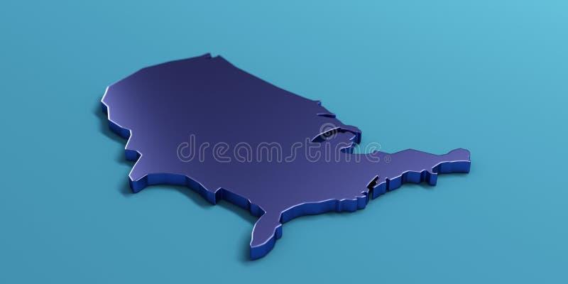 Karte USA Vereinigte Staaten 3d ?bertragen Abbildung stock abbildung
