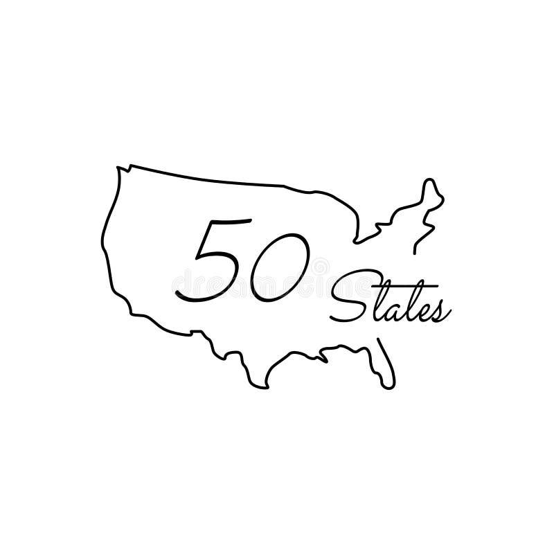 Karte Vereinigte Staaten Ikone Amerikas, 50 Zustände USA Linie Kunstdesign, Vektorillustration stock abbildung