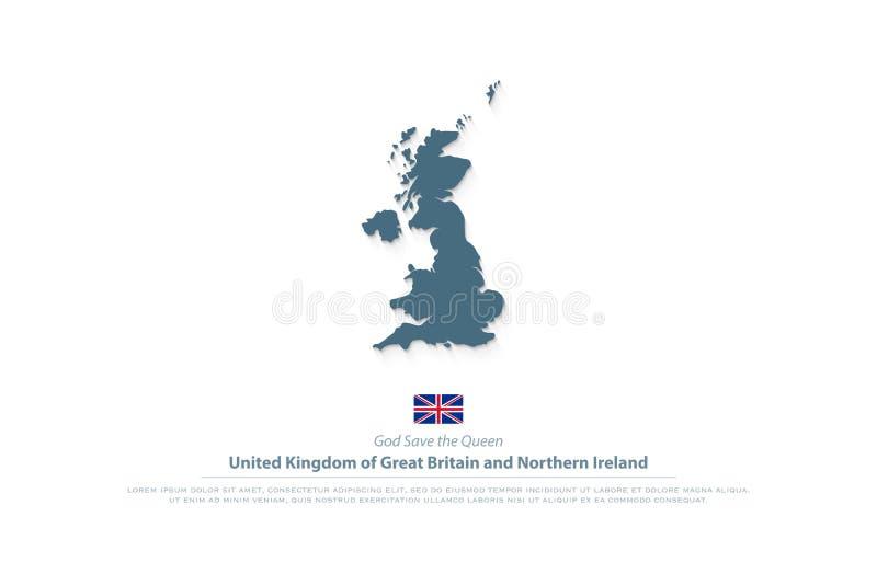 Karte Vereinigten Königreiches Großbritannien und Nordirland und Beamtflaggenikone lizenzfreie abbildung