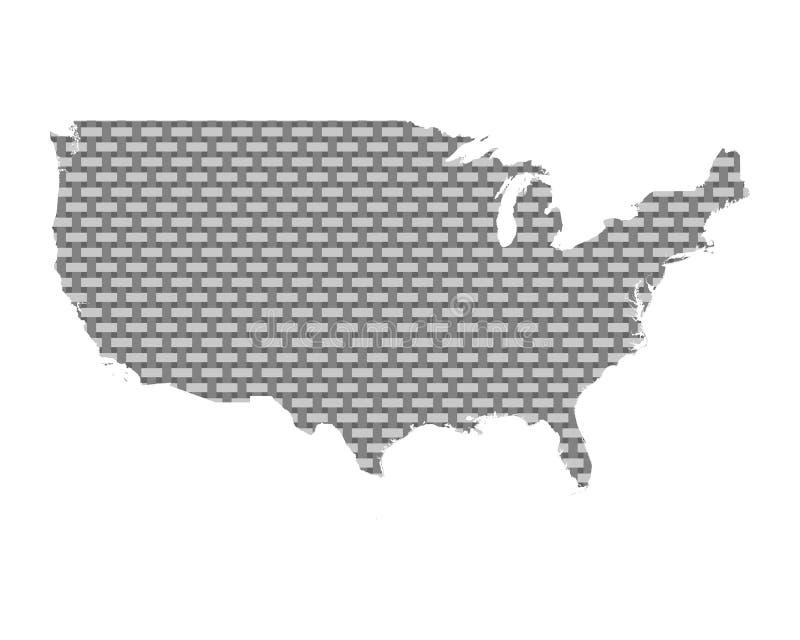 Karte vom USA-groben ineinandergegriffen lizenzfreie abbildung
