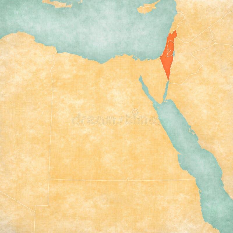 Karte von ?gypten - Israel mit Pal?stina vektor abbildung