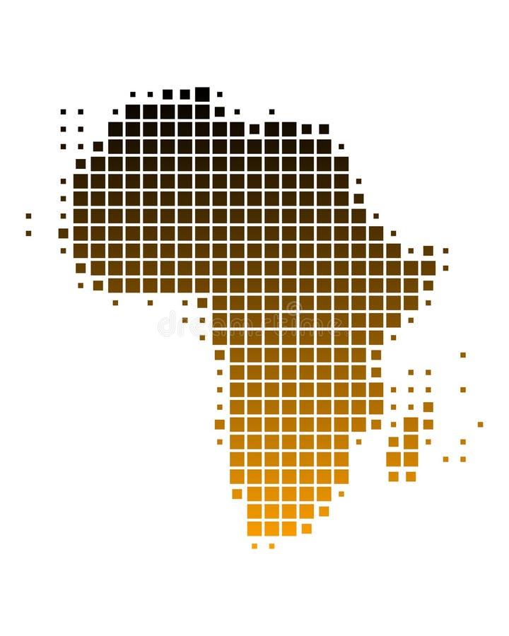 Karte von Afrika in den braunen Quadraten lizenzfreie abbildung