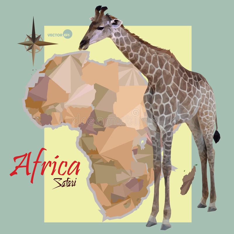 Karte von Afrika Konzeptkarte mit Ländern, Bild einer politischen Karte der nachgemachten Weinlese der Giraffe von Afrika Afrika- stock abbildung