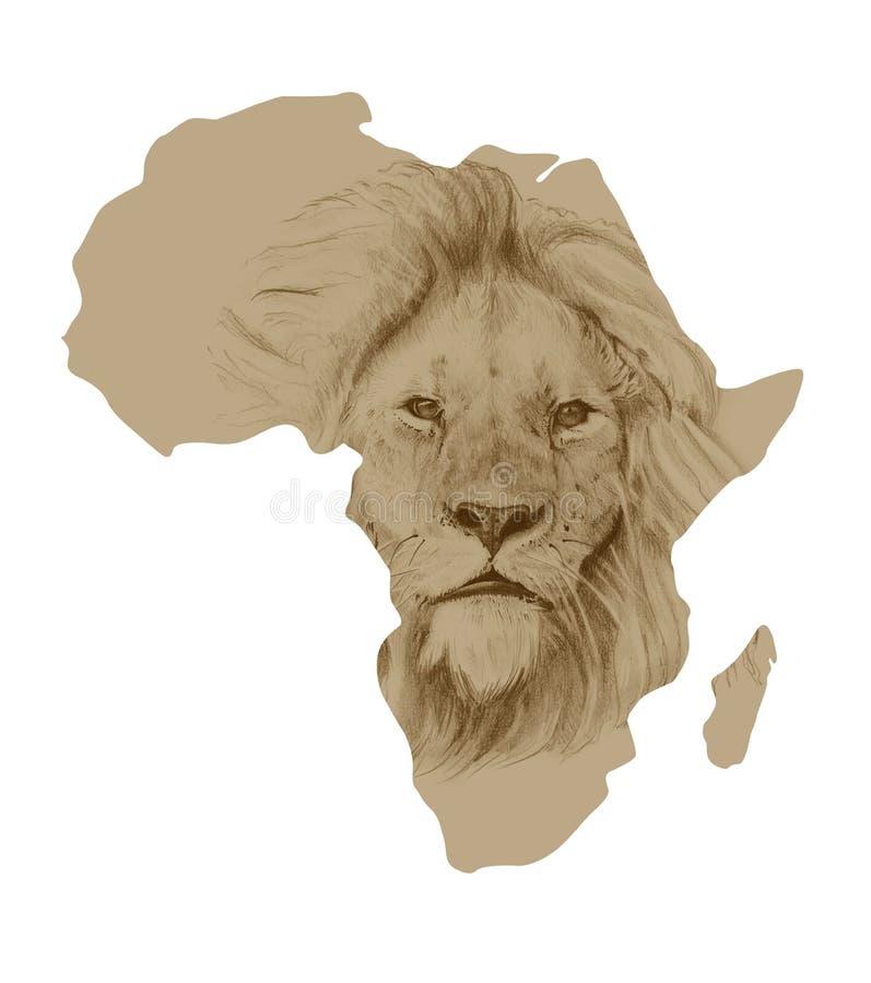 Karte von Afrika mit gezogenem Löwe stock abbildung