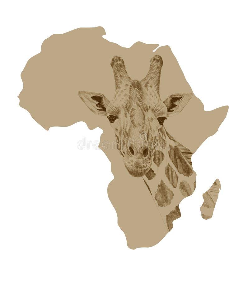 Karte von Afrika mit gezogener Giraffe lizenzfreie abbildung