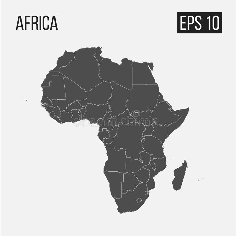 Karte von Afrika mit Regionen lizenzfreie abbildung