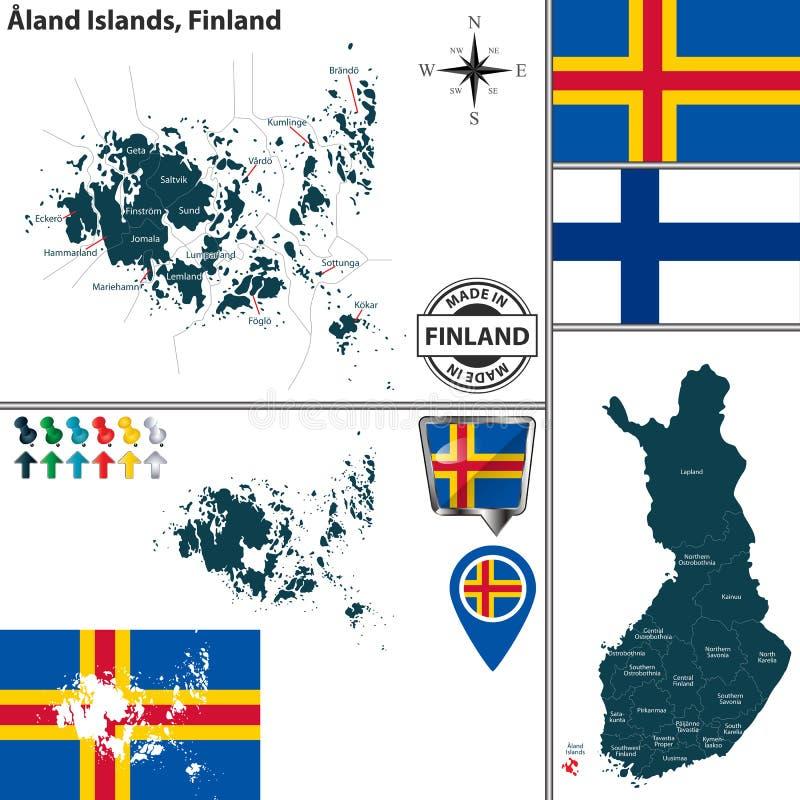 Karte von Aland-Inseln, Finnland stock abbildung