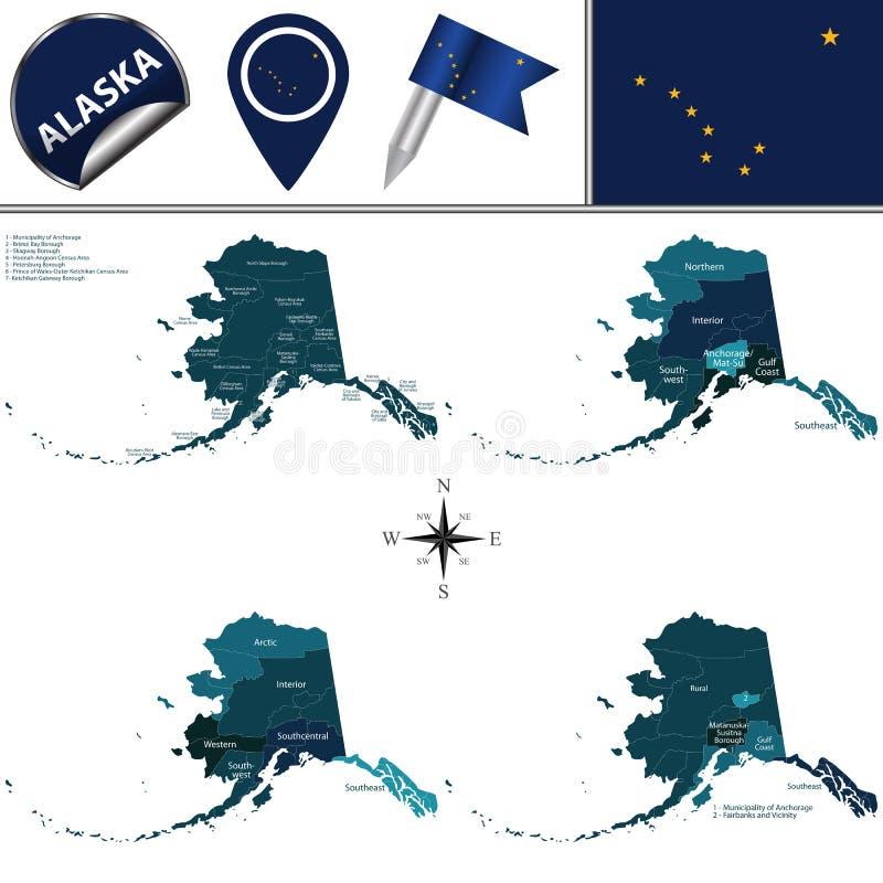 Karte von Alaska mit Regionen vektor abbildung