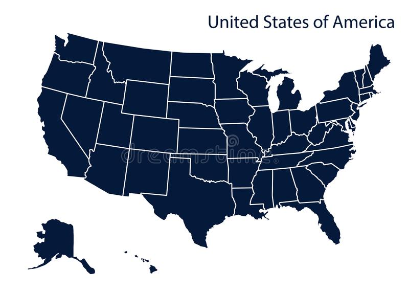 Karte von Amerika USA stock abbildung
