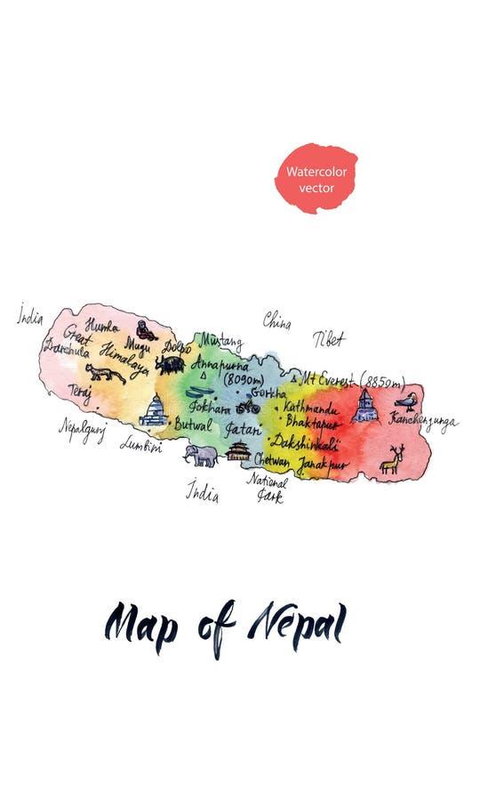 Karte von Anziehungskräften von Nepal, Aquarellhand gezeichnet, Vektorillustration lizenzfreie abbildung
