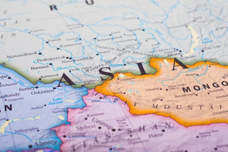 Karte von Asien stockbilder