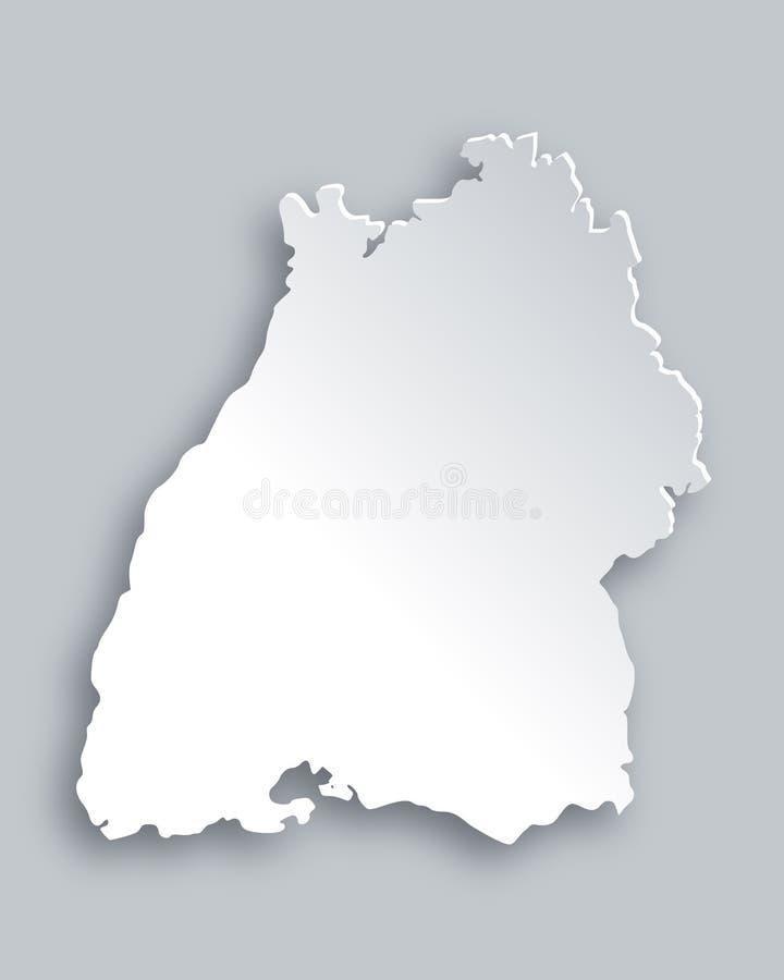 Karte von Baden-Württemberg lizenzfreie abbildung