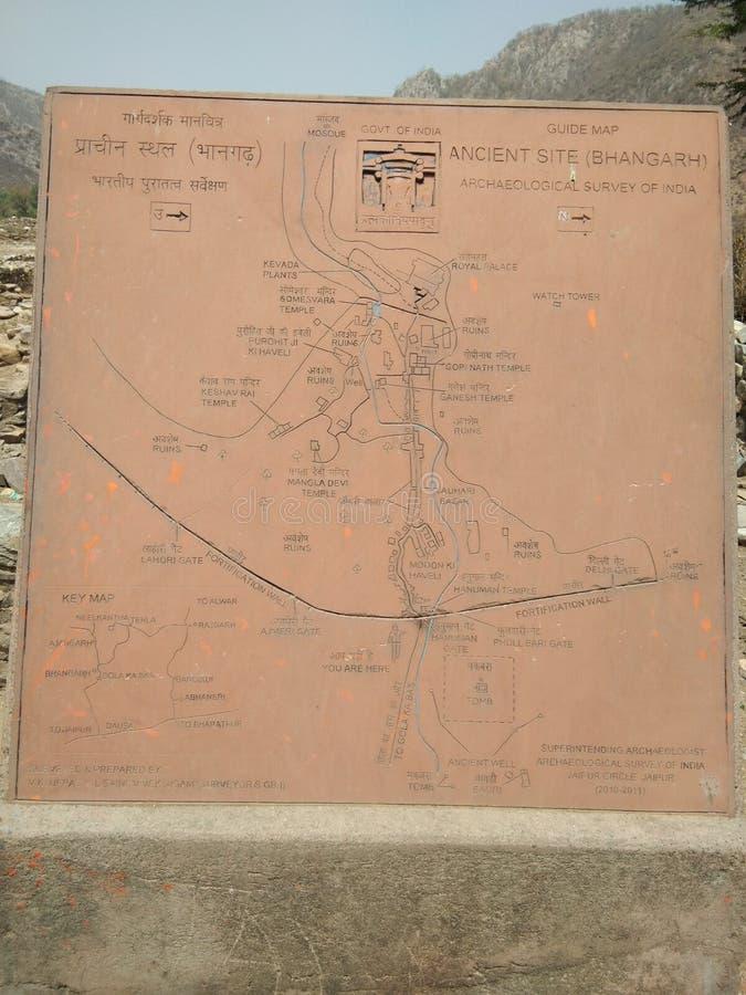 Karte von bhangarh Fort Rajasthan lizenzfreie stockfotografie