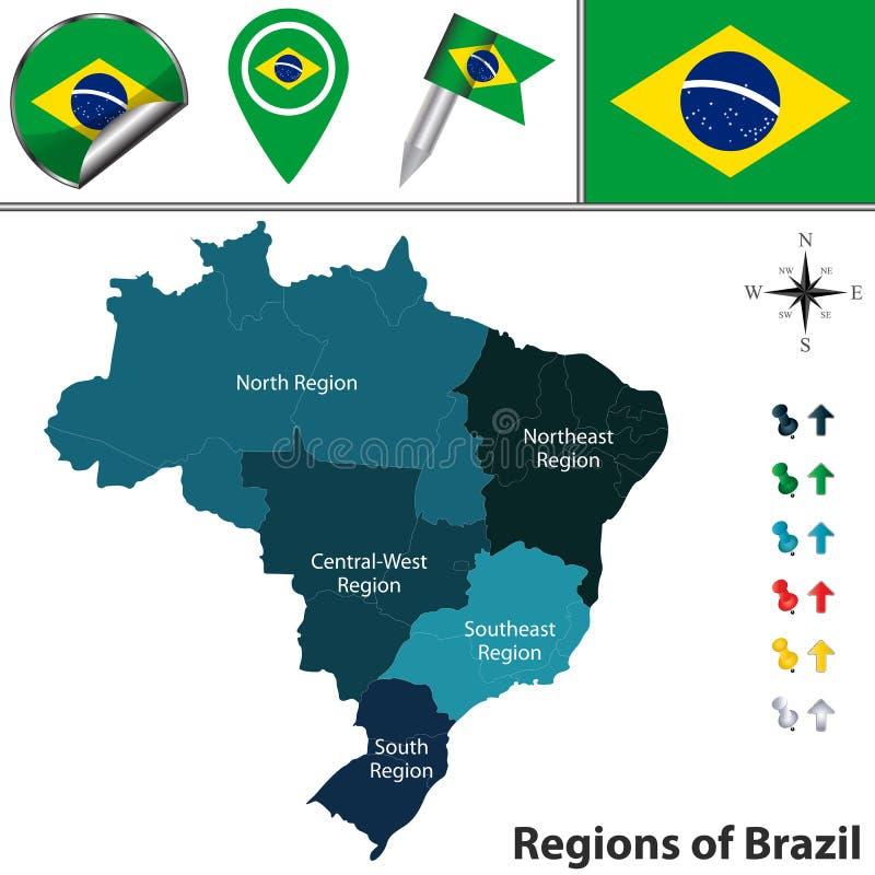 Karte von Brasilien mit Regionen stock abbildung