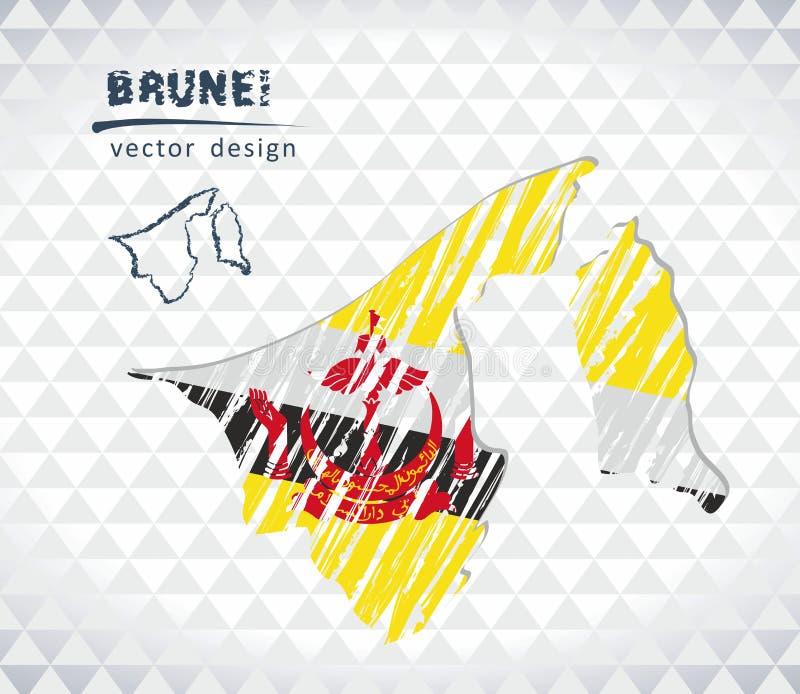 Karte von Brunei mit Hand gezeichneter Skizzenstiftkarte nach innen Auch im corel abgehobenen Betrag stock abbildung