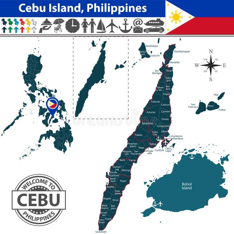Karte von Cebu-Insel, Philippinen vektor abbildung