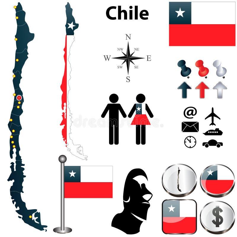 Karte von Chile lizenzfreie abbildung