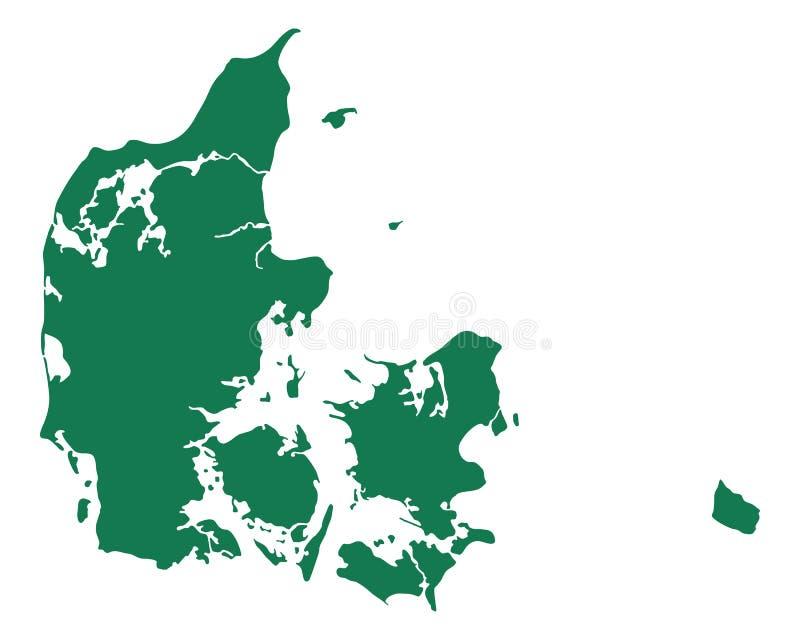 Karte von Dänemark lizenzfreie abbildung