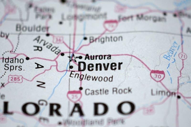 Karte von Denver stockfoto
