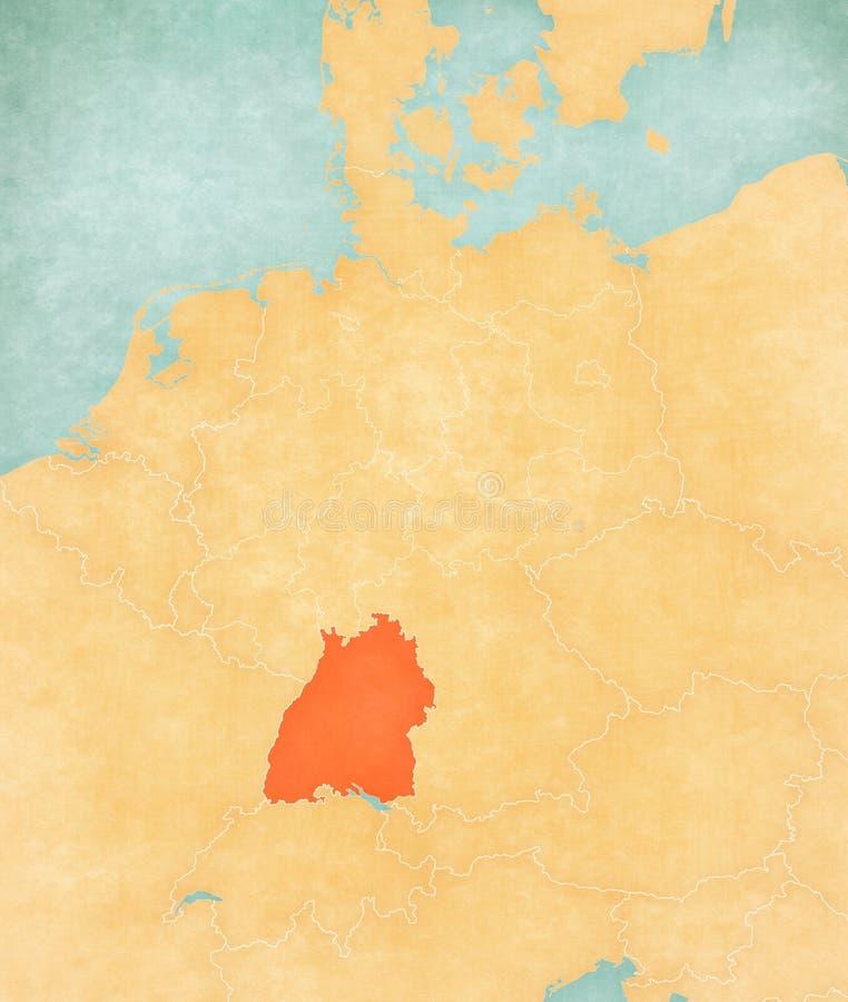 Karte von Deutschland - Baden-Wurttemberg lizenzfreie abbildung