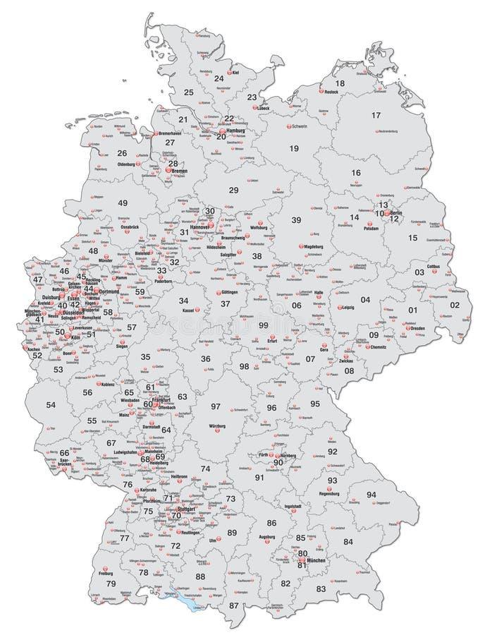 karte von deutschland mit postleitzahlen im grau vektor abbildung illustration von codes. Black Bedroom Furniture Sets. Home Design Ideas