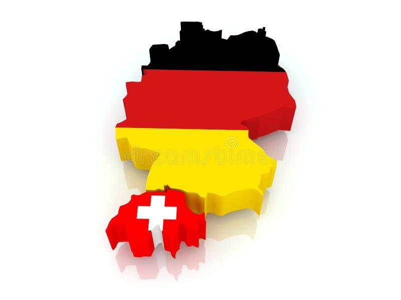 Karte Von Deutschland Und Von Schweiz Stock Abbildung