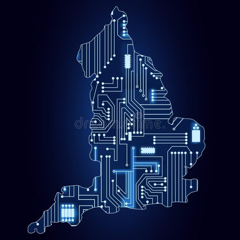 Karte Von England Mit Elektronischer Schaltung Vektor Abbildung ...