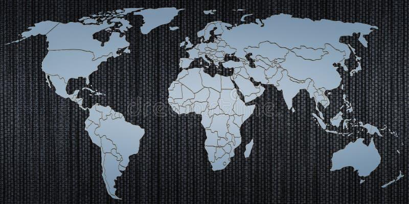 Karte von Erde vom Metall, 3D lizenzfreie abbildung