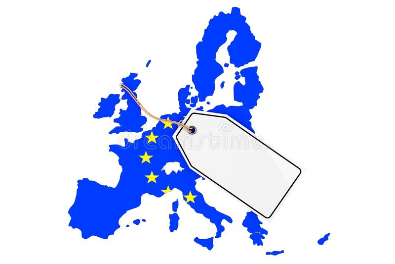 Karte von Europa mit Flagge und leerem Verkaufs-Tag Wiedergabe 3d lizenzfreie abbildung