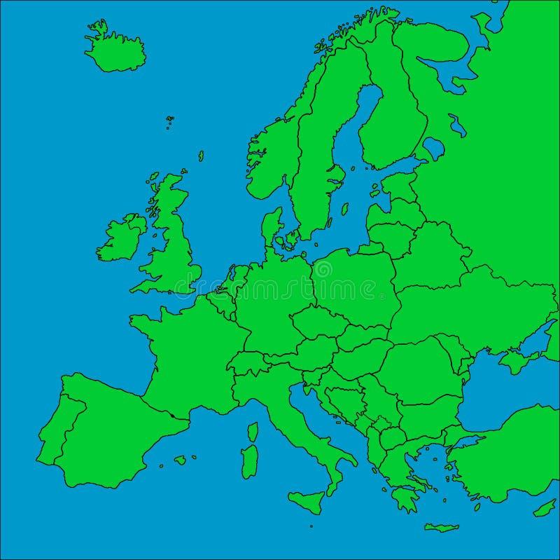 Karte von Europa mit Rändern stock abbildung