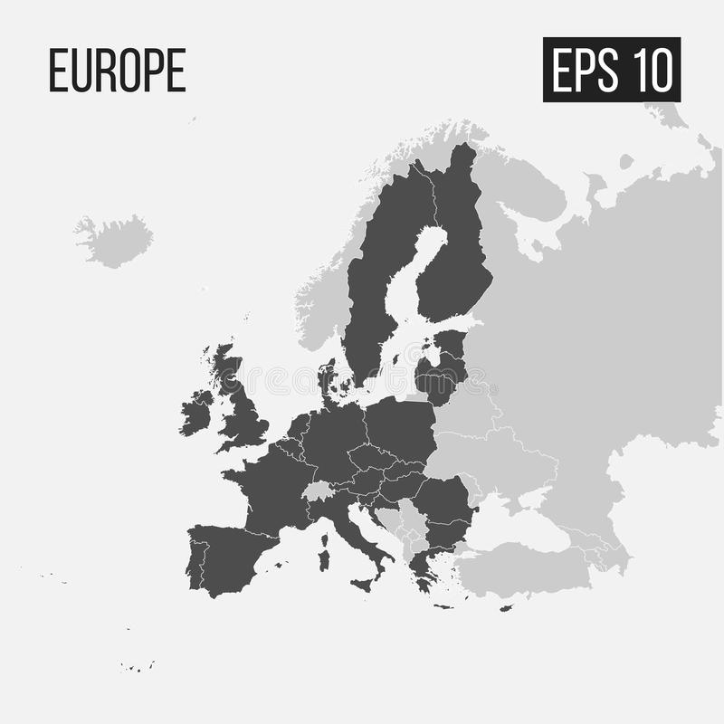 Karte von Europa mit Regionen lizenzfreie abbildung