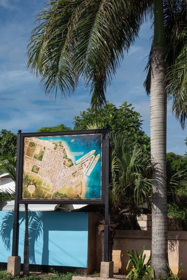 Karte von Falmouth, Jamaika auf einem Zeichenstadtzentrum stockfotografie