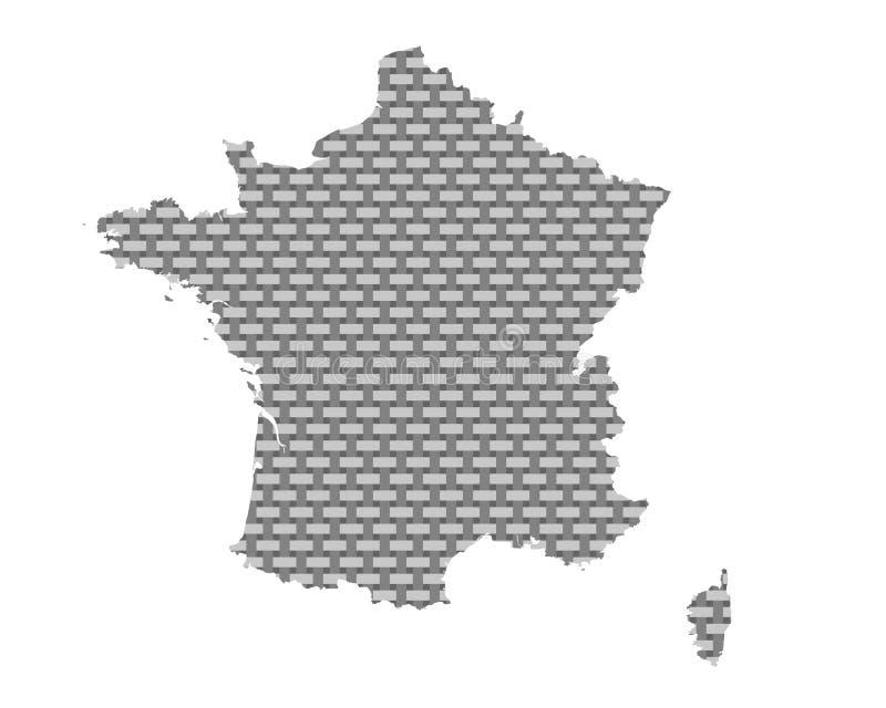 Karte von Frankreich-grobem ineinandergegriffen lizenzfreie abbildung