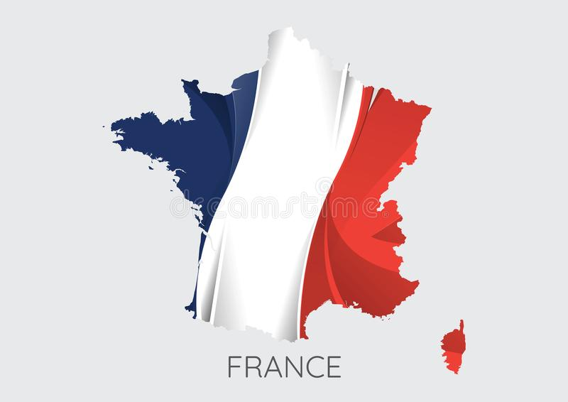 Karte von Frankreich mit Flagge als Beschaffenheit vektor abbildung