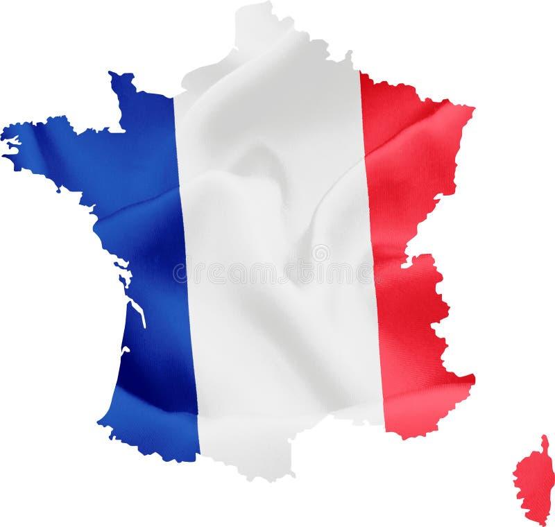 Karte von Frankreich mit Markierungsfahne stock abbildung