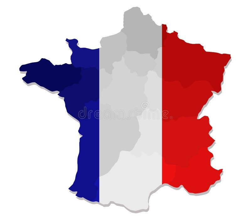 Karte von Frankreich mit Regionen vektor abbildung
