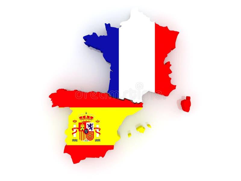Karte von Frankreich und von Spanien. lizenzfreie abbildung