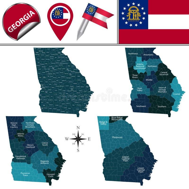 Karte von Georgia mit Regionen vektor abbildung