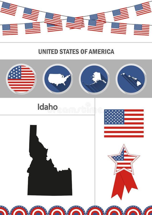 Karte von Idaho Satz flache Designikonen nfographics Elemente mit lizenzfreie abbildung