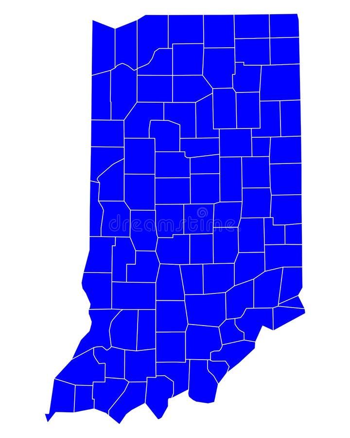 Karte von Indiana lizenzfreie abbildung