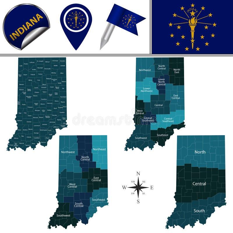 Karte von Indiana mit Regionen vektor abbildung